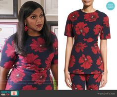 Mindy's navy and red floral top on The Mindy Project. Outfit Details: https://wornontv.net/57248/ #TheMindyProject