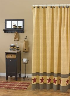Country Star Shower Curtain - matching star curtain hooks, star vine bath collection, and standing toilet tissue holder. CountryPorch.com makes decorating easy and fun!