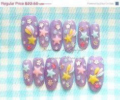 ON SALE Kawaii 3D nails fairy kei lilac sweet lolita by Aya1gou, $20.25