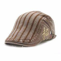Men Autumn Cotton Washed Beret Cap Travel Casual Stripes Sun Visor Hat