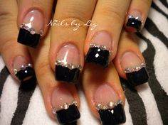 Black tips with Glitter divider line