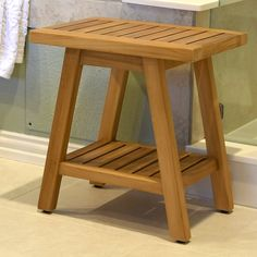 Asta Furniture, Inc. Spa Teak Wooden Free Standing Shower Seat Size: H x Bathtub Storage, Bathtub Accessories, Stand Alone Tub, Standing Shower, Outdoor Stools, Shower Seat, Traditional Bedroom, Teak Wood, Wood Construction