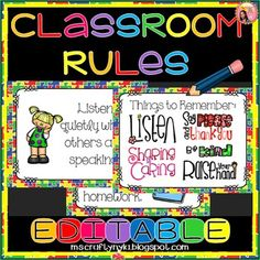 Classroom Rules: Jigsaw Puzzle theme. It includes nine classroom rules which stand alone as individual posters and it also has a poster with all of the rules on it. Every poster has pictures of students.These posters are positive messages because the phrase 'do not' is not used, instead, it tells the students the actions that are allowed and expected of them.