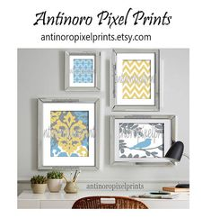 Yellow Blue Grey Damask Art Wall Gallery by antinoropixelprints, $45.00 Really like this for my living space!