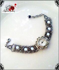 fantasy gothic moonstone filigree wrist watch  by ApplebiteJewelry, $98.00