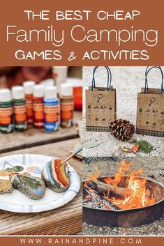 The best cheap family camping games and activities, including rock painting, going on a nature scavenger hunt, fire pit ideas, water activity ideas like kayaking, and more easy and simple family-friendly camp ideas! - Rain and Pine