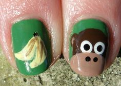 Funny monkey nail art :: one1lady.com :: #nail #nails #nailart #manicure