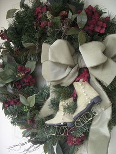 Winter wreath...ahh finally a wreath with skates. Now, I know what to do with them.