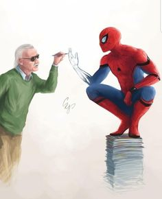 Art print / poster of Stan Lee and Spiderman - Marvel Universe Marvel Avengers, Marvel Jokes, Funny Marvel Memes, Spiderman Marvel, Marvel Comics Art, Spiderman Poster, Spiderman Anime, Stan Lee Spiderman, Spiderman Drawing
