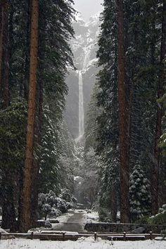 Winter. Lower Falls, Yosemite, California