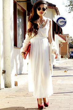 White Tank + White Maxi Skirt + White Long Cardigan + Red Pumps