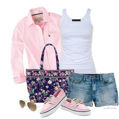 Cute pink Sperry's, simple button down, and Vera Bradley bag. Casual Outfits, Cute Outfits, Fashion Outfits, Womens Fashion, Fasion, Spring Summer Fashion, Spring Outfits, Summer Wear, Summer Time