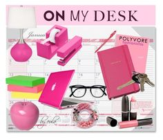 """""""What's On My Desk?"""" by eula-eldridge-tolliver ❤ liked on Polyvore featuring interior, interiors, interior design, home, home decor, interior decorating, House of Doolittle, Bitossi, Kate Spade and Avon"""