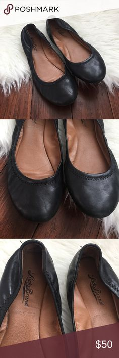 | Lucky Brand | Plain Black Emmie Leather Flats Excellent condition. Only worn a few times. No noticeable flaws. Leather upper. Effect pair of plain black flats!! Lucky Brand Shoes Flats & Loafers