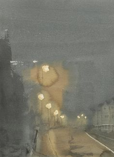 """""""Queen's Road Revisited"""" by Freddie Davies. 2015. Watercolour. http://freddie-davies.wix.com/artist A nocturne of a rainy evening."""