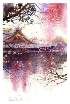 artwork by Kanta Harusaki. Kanta is a famous Japanese watercolorist who was born in Kumamoto. His watercolor work began at the age of 32 years. Fantasy Landscape, Landscape Art, Fantasy Art, Chinese Landscape, Japanese Painting, Japanese Art, Chinese Painting, Japanese Watercolor, Art Asiatique