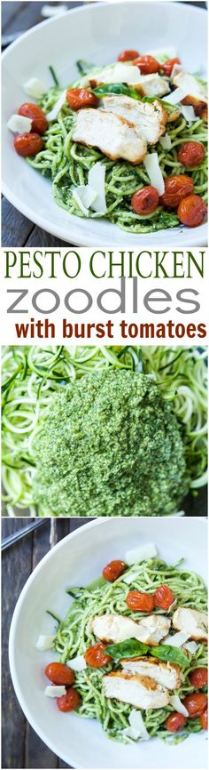 Pesto Chicken Zoodles with Burst Tomatoes An easy dinner recipe for a busy week, and no stove needed! Pesto Chicken Zoodles with Burst Tomatoes, full of bold flavors, high in protein, and in low carbs! Your family will love it! Quick Dinner Recipes, Paleo Dinner, Easy Healthy Dinners, Quick Easy Meals, Paleo Recipes, Healthy Dinner Recipes, Cooking Recipes, Grilling Recipes, Summer Recipes
