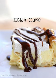 Chocolate Eclair Cake - Click image to find more popular food & drink Pinterest pins