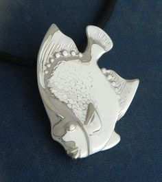 "Angelfish Pendant | Sterling silver Angelfish pendant 1"" round $40"