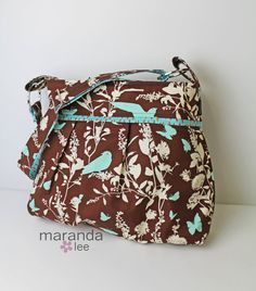 For Mom at Christmas Stella Diaper bag  Large  Swallows Chocolate Brown by marandalee, $89.00
