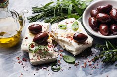 Feta cheese with olives by liskina-nora on Creative Market