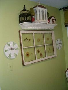 window with flower pressings