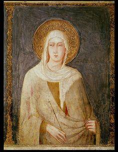 Five Saints detail of St Clare | Simone Martini | oil painting  #religious art