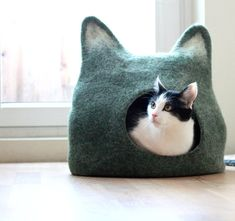 Cat bed - cat cave - cat house - eco-friendly handmade felted wool cat bed - green with natural white - made to order.  This is cozy and comfortable