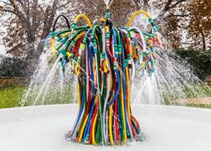 """Bertrand Lavier's """"unruly mass"""" of hoses creates a fountain outside the Serpentine Sackler Gallery."""