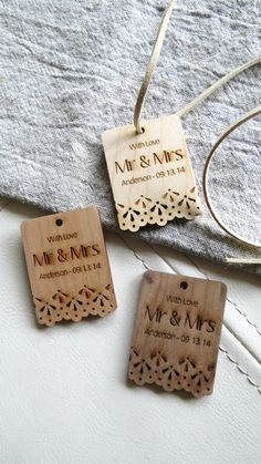 50  2 x 1.5 Mr & Mrs Tags  Custom Wedding Tags  Wood by GrainDEEP