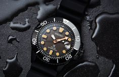 Seiko has just released three limited edition black divers, and they couldn't be hotter. We've already shown you the automatic but there are two solar Seiko Skx, Seiko Watches, Best Watches For Men, Cool Watches, Time And Tide, Skeleton Watches, Mechanical Watch, Vintage Watches, Leather Men