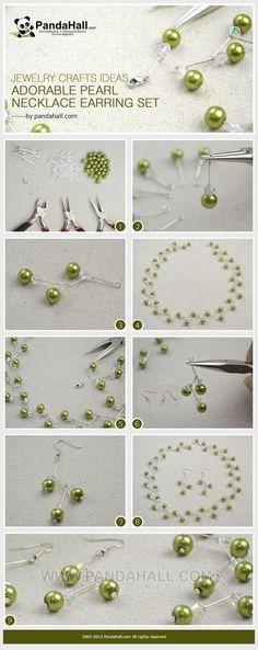 自己动手DIY珍珠耳环和项链 (图片分享自PandaHall珠宝首饰博客)