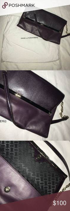 DVF evening bag Worn boy twice this DVF evening bag was purchased at the Boston store and can be yours! It is a beautiful deep purple with gold hardware. Real leather and comes with original duster Diane von Furstenberg Bags Shoulder Bags