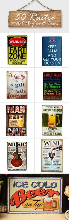 50 ways on Rustic metal plagues & signs#wall art#plagues#signs#halloween#christmas#party#clearance