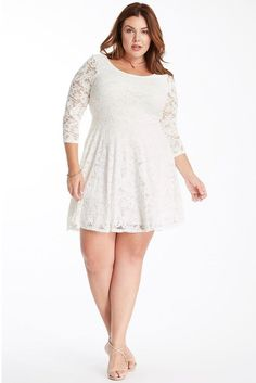 Exude romantic vibes in the love poem fit and flare lace dress. It features a scoop neckline and 3/4 length sleeves. The top of the dress features a body hugging fit and flares into a swing skirt. Length hits mid thigh. This dress is fully lined.