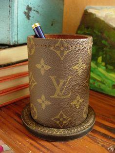 Ultra RARE Vintage LOUIS VUITTON Pen Pencil Cup Executive Office Desk Accessory #LouisVuitton #WasteBasketTrashCan