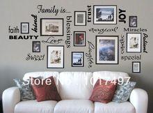 Família grátis frete é a parede de vinil parede citação lettering arte / decoração do / família / etiqueta quadros não incluído f1001b(China (Mainland))
