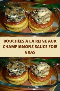Aujourd'hui je partage avec vous une recette bouchées à la Reine aux champignons sauce foie gras. Une recette festive oui, idéale pour les menus de Noël. Le foie gras est un ingrédient que j'aime beaucoup et j'aime l'associer à différentes préparations.  C'est une recette assez simple et rapide à cuisiner et qui pourra être préparé en avance pour ce qui est des champignons et de la sauce au foie gras. Il suffira de faire réchauffer le tout au dernier moment…C'est un plat bien réconfortant Vol Au Vent, Sauce Au Foie Gras, New Years Eve Party, Baked Potato, Entrees, Tapas, Sandwiches, Muffin, Food Porn