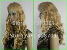 (Free Shipping) beautiful Long blonde wig curly wavy Health lady'  Wigs