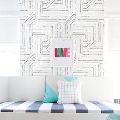 Wallpaper, Black and White Wallpaper, Kids Wallpaper, Wall sticker, Self-Adhesive Wallpaper, Kids Décor. Maze Wallpaper