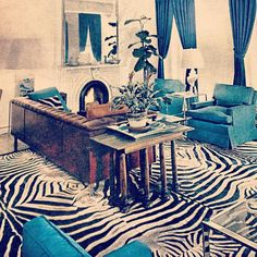Great graphic color blocked moment. #1950's #design #interiors #bookresearch