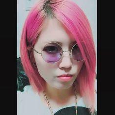 WEBSTA @ 666vivienne - 丸メガネ似合わないけど懲りずに買う。#カラーサングラス#派手髪 #マニックパニック#クレオローズ#加工しまくり #削ってます#顔長族とのハーフ#実際とは異なります#虜#direngrey