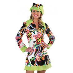 Hippie of Sixties jurkje voor dames. Vrolijk gekleurde hippie jurk voor dames inclusief hippe muts. Deze Sixties jurk is in verschillende maten verkrijgbaar.