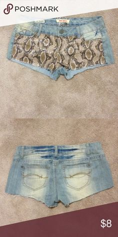 Hot kiss sequin snakeskin denim shorts Barely worn.. Fun shorts to wear casually or go out in. Junior size 9. They can be a fitted 9 or loose 7, depends how you like to wear them. Cici short is the style name Hot Kiss Shorts Jean Shorts