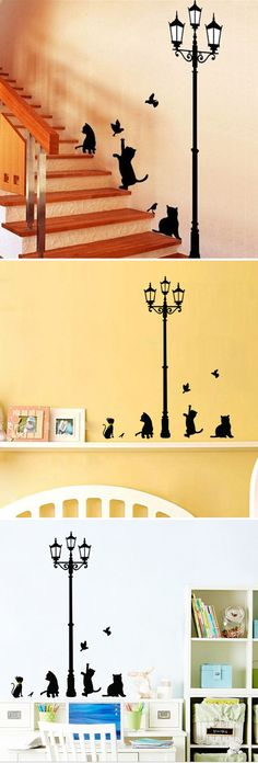 50x70CM Lamp Cat Wall Stickers Home Stairs Sticker Decor Decorative Removable Wall Decal