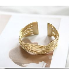 Knitted Twisted Metal Bangle - Ashley Jewels - 2