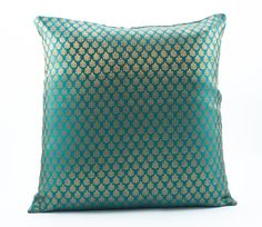 Decorative Throw pillow cover 18x18 Emerald green Silk Pillow with Gold motif Accent