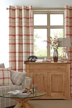 Buy Red Woven Eyelet Check Curtains from the Next UK online shop