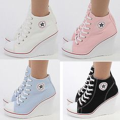 d42607418538 Wedges Trainers Heels Sneakers Platform High Top Ankles Lace up Zip Boots  Canvas