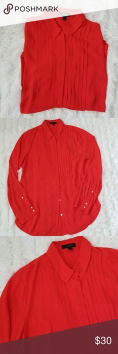 """J.Crew Red Tuxedo Button Up Blouse Pleated bust detail.  100% polyester. Bust 19 1/2"""" Length 28"""" Left sleeve has pin size mark as seen in 7th photo. J. Crew Tops Blouses"""